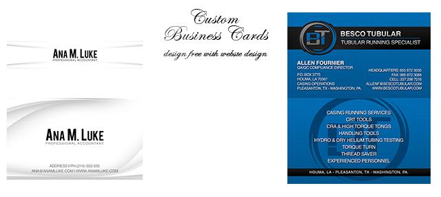 Website business cards brochures tradeshow portfolio houston custom business card designs reheart Images
