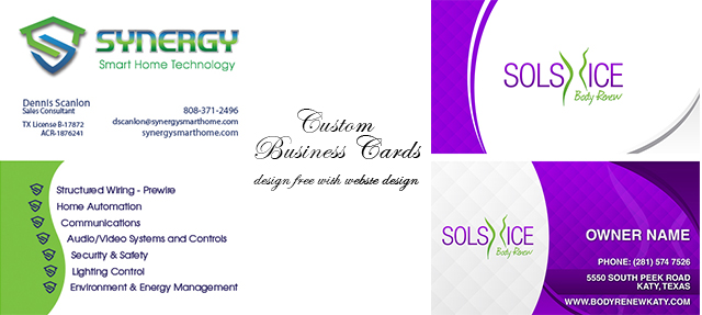 Website business cards brochures tradeshow portfolio houston custom business card designs reheart Images